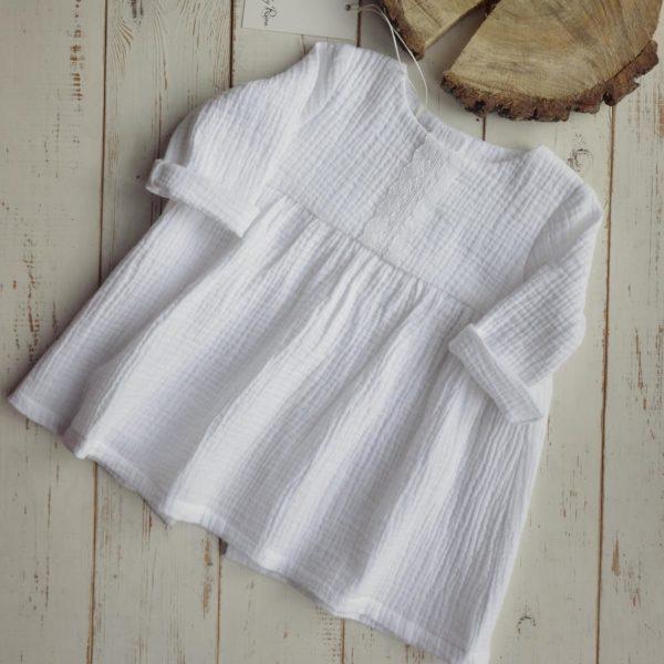 Dziewczęta muślinu sukienka z długim rękawem bawełna biała